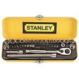 "STANLEY 21 Piece 1/4"" Drive Socket Set [89-507-23] - Kunci Sok Set"